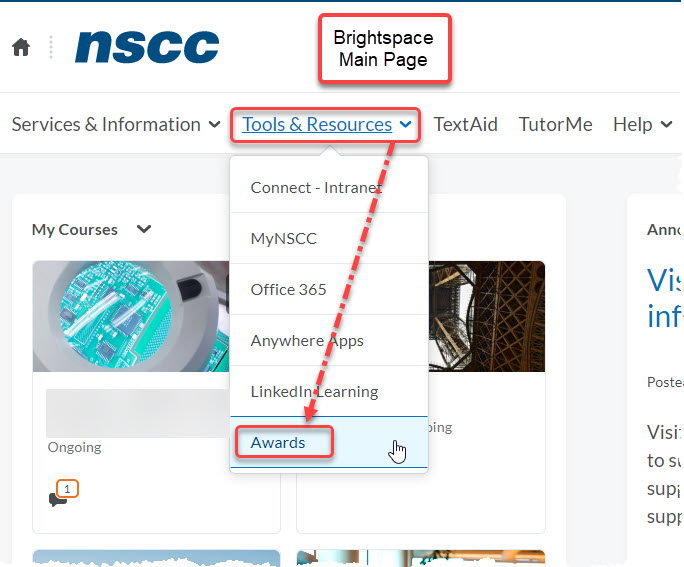 Brightspace Main Page